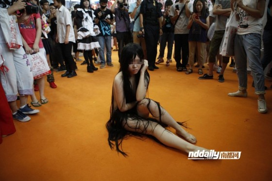 Nakedcosplaygirl at anime festival in Shenzhen